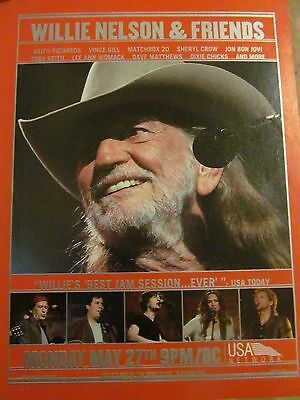 Willie Nelson and Friends, Full Page Promotional Ad, Keith Richards, Bon Jovi