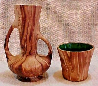 Two Rocky Mountain CO Pottery Brown Swirl Wood Grain Green Inside Vases FREE S/H