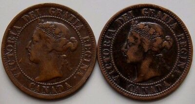 1895 1898 Canada Canadian Large 1 Cent Coins Queen Victoria Lot Of 2