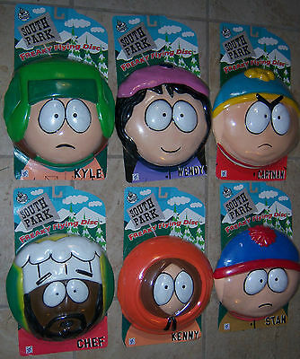 South Park Complete Set of 6 Freaky Flying Discs All Your Favorites New on Card