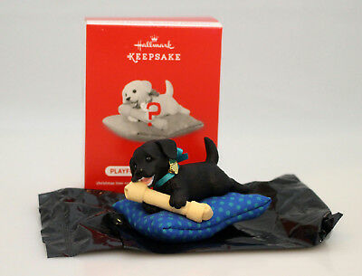 Hallmark Ornament 2017 Playful Puppy Surprise - Black Dog Blue Pillow QGO1742-BL