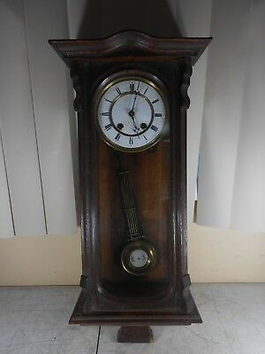 Antique Pendulum Hanging Wall Clock with Wooden Case for Restoration or Parts