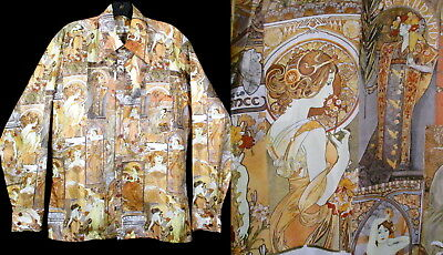 Vintage ALPHONSE MUCHA SHIRT Disco Era 1970's 70's Photo Print Stuard's Art Med