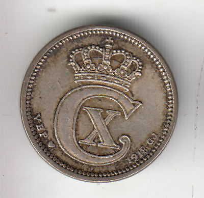 Denmark Silver 10 Ore 1918 Scarce          45Z             By Coinmountain