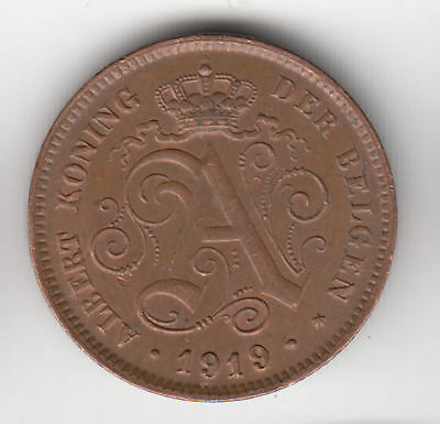 Belgium 2 Cents 1919 Copper Ef+         49Z           By Coinmountain