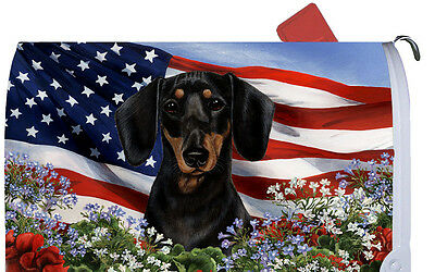 Patriotic Mail Box Cover - Black & Tan Dachshund 09008