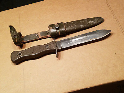 Vintage West German Bundeswehr Army Boot Knife Fighting Combat Fixed Blade OD 69