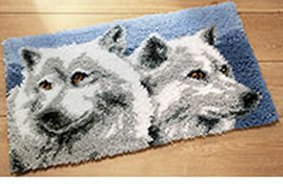 Wolves latch hook kit  Rug Making Kit 70x45 cm Printed Canvas, inc tool & Yarn