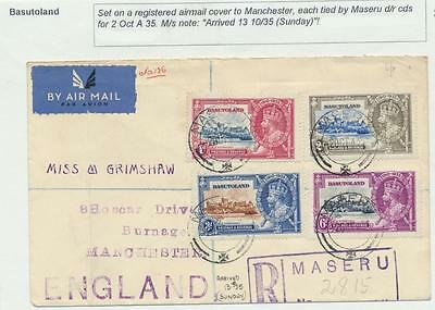 Basutoland 1935 Silver Jubilee Set On Reg.cover To Uk (See Below)