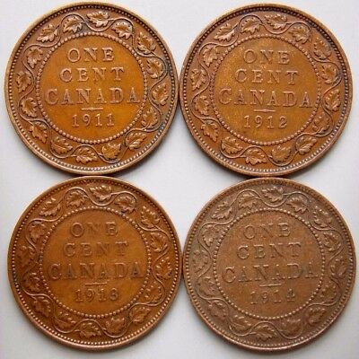 1911 1912 1913 1914 Canada Canadian Large 1 Cent Coins King George V Lot Of 4