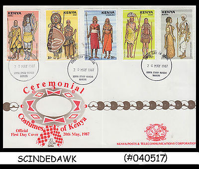KENYA - 1987 Ceremonial COSTUMES of Kenya - 5V - FDC