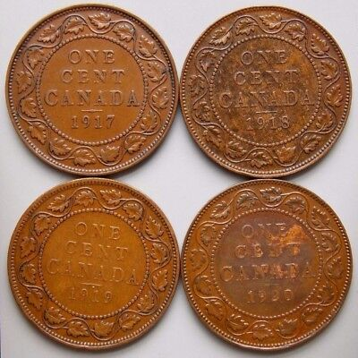 1917 1918 1919 1920 Canada Canadian Large 1 Cent Coins King George V Lot Of 4