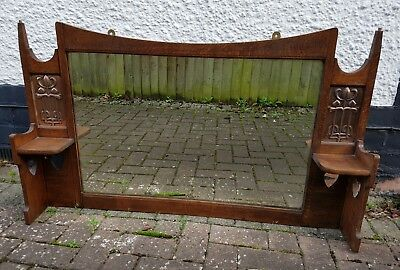 Antique Art Nouveau Arts & Crafts Overmantle Oak Mirror Honeysuckle Copper Panel