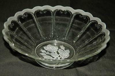 Imperial Glass 721 Scroll Flute Rose Intaglio Bowl Free Ship