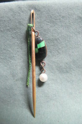 Antique Stick Pin with Stone and Pearl on Chain