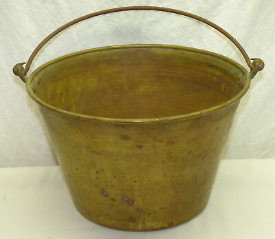 Antique Large American Brass Kettle Co. # 4 Pail Bucket w/ Wrought Iron Handle