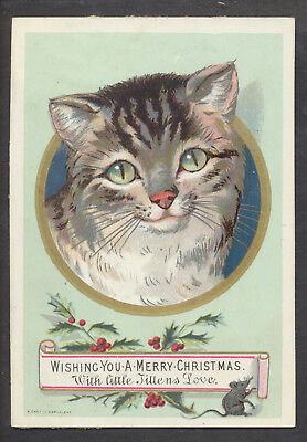 C8509 Good Victorian Canton Xmas Card: Cat & Mouse 1870s