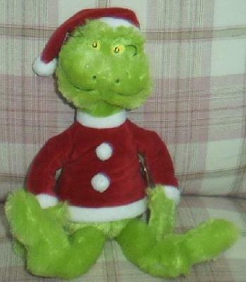 "Dr. Suess How The Grinch Stole Christmas 15"" Plush Grinch Doll In Santa Suit New"
