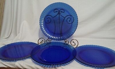 "4 Retro Cobalt Blue 10"" Colorex Dinner Plates Made in Brazil"