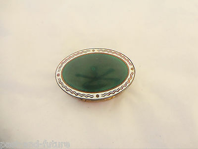 """Brass And Enamel Patch Pill Box, Beveled Mirror, 1/2"""" X 1 5/8"""""""