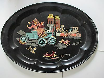 ANTIQUE VINTAGE LARGE BLACK TOLE METAL TRAY HAND PAINTED CAR HORSE DOGS Oval