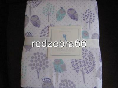 Pottery Barn Kids Owl Friends Twin Sheet Set Flannel Lavender 3-PC Sleeping Owl