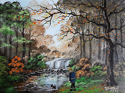 """Mal..burton Original Art Oil Painting   """" You Like The Water Boy  Out With Dog """""""