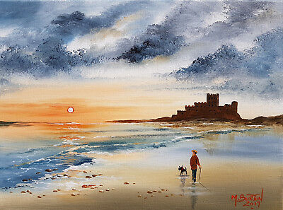"""Mal..burton Original Art Oil Painting   """" Out With The Dog Bamburgh Castle"""