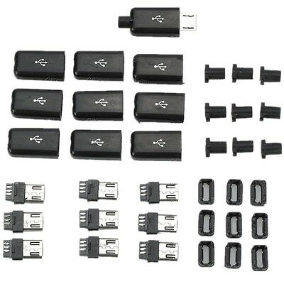 10PCS Micro USB Type B Male Plug Connector Kit with Plastic Cover for DIY HERTO