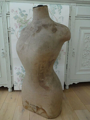 Rare French Antique Mannequin Bust Shabby Chic Display Ransouin Paris