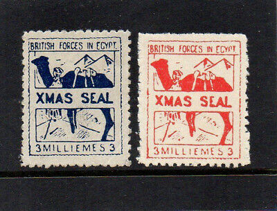 Egypt 1932 British Forces - Christmas Seals - 2 Stamps - Very Good Mint