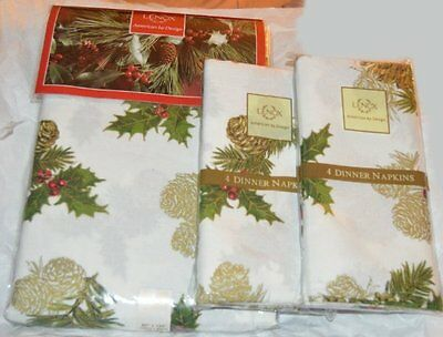 "Lenox Pinecone Holiday Tablecloth and 8 Napkins Set 60"" X 120"" New Christmas NEW"