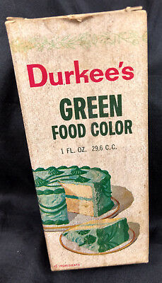 "Durkee's Green Food Color w/Box Paper Label 4 1/2"" Clear Glass Bottle VTG"