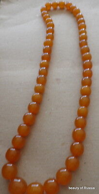 Antique Natural  butterscotch egg yolk Baltic Amber Round  Beads Necklace   95gr