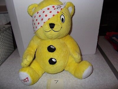 """Number 7 Pudsey Bear Children in Need Soft Toy 10"""" 2007 Pre owned,Good Condition"""