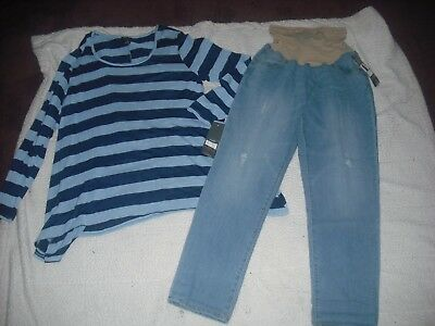 Womens Maternity NWT Lot 2 Oh Baby Motherhood Jeans Tops Size XL Retail 98.00