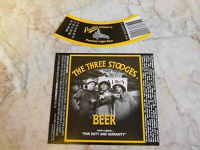 Panther Brewing The Three Stooges Beer Label w/ Neck Utica, NY