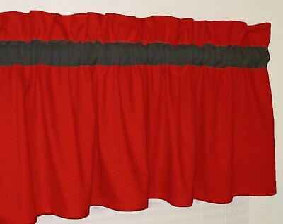 Solid Red w/ Black Curtain Window Valance Kitchen School Bath Bedrooom Baby Dorm