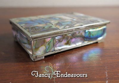 Mexican Silver Plate and Abalone Trinket Box La Puerta del Sol