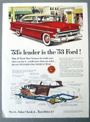 Original 1953 Ford Crestline Ad 53's LEADER IS THE '53 FORD TWO DOOR COUPE