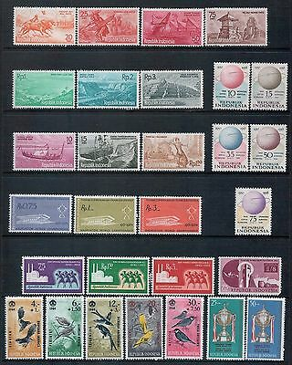 INDONESIA - Mixed lot of 29 Stamps, Sets or Part Sets most MH