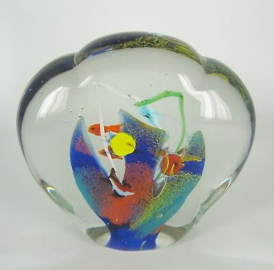 Murano Glas Briefbeschwerer Aquarium Italy Glass Paperweight Heavy Handmade