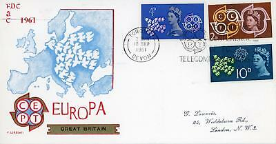 GB 1961 Europa CEPT, Very Scarce illustrated FDC with TORQUAY SLOGAN