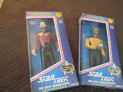 Star Trek The Next Generation  Collector's Figurines Riker And La Forge Nib