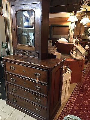 Antique Drop Front Bureau Dresser Chest / desk with bookcase top