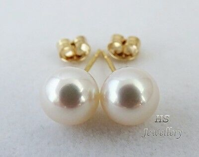 HS Japanese Akoya Cultured Pearl 9mm Stud Earrings 18K Yellow/White Gold Top