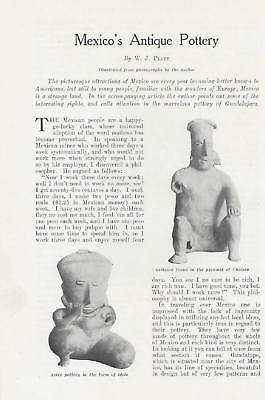 1904 Antique Magazine Article Antique Pottery of Mexico. Mexican Antique Pottery