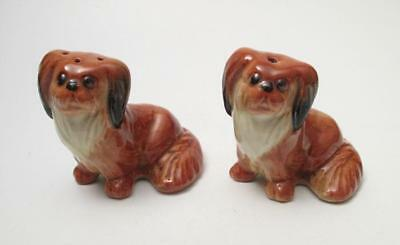 Pair Vintage Darbyshire Australian Pottery Pekingese Dogs Salt & Pepper Shakers