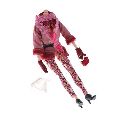 Winter Outfit Coat Pants Scarf Boots Gloves Handbag Dollhouse Accessories