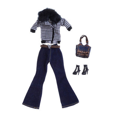 Handmade Fashion Doll Party Clothes Coat+Pant+Bag Outfit Set For Barbie Doll